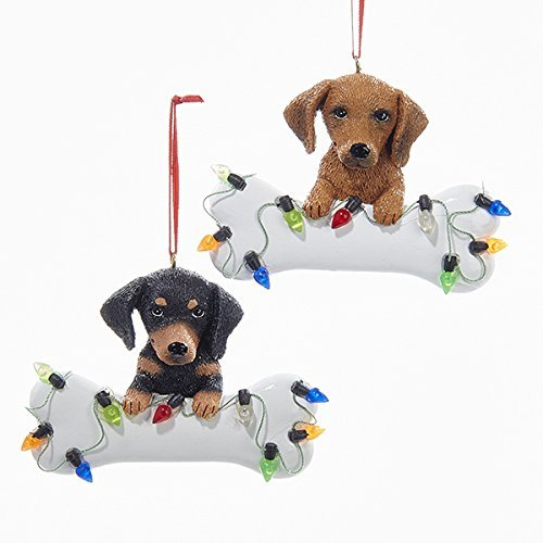 Kurt Adler 1 Set 2 Assorted Dachshund With Bone Resin Ornaments For Personalization
