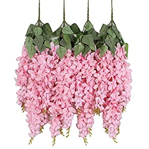 Duovlo Silk Wisteria Flower Artificial 2.13 Feet Hanging Wisteria Vine Fake Flower Bush String Home Party Wedding Decoration,Pack of 4 (Pink) 44