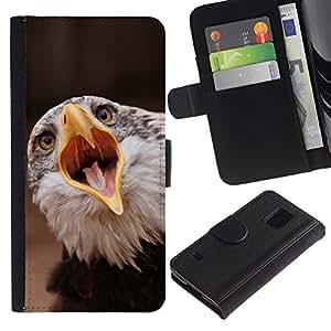 YiPhone /// Tirón de la caja Cartera de cuero con ranuras para tarjetas - Boca grande Águila - Samsung Galaxy S5 V SM-G900