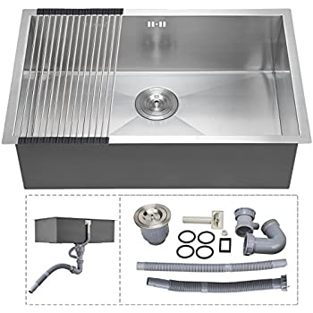 voilamart 28   x 18   single bowl handmade stainless steel kitchen sink 18 gauge   starstar 30 x 22 top mount single bowl kitchen sink drop in 304      rh   amazon com