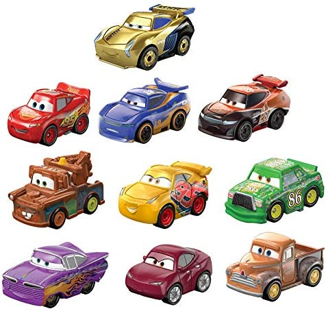 Disney and Pixar Cars Mini Racers Derby Racers Series 10-Pack, Small Metal Movie Vehicles for Competition and Story Play, Wide Character Variety, Authentic Details
