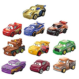 Disney and Pixar Cars Mini Racers Derby Racers Series 10-Pack, Small Metal Movie Vehicles for Competition and Story Play, Wide Character Variety, Authentic Details​​