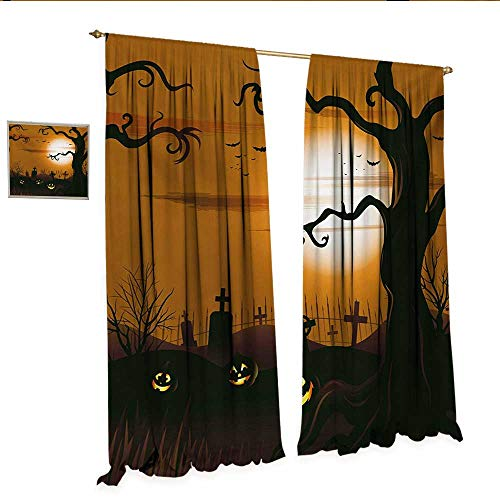 WinfreyDecor Halloween Decorative Curtains for Living Room Leafless Creepy Tree with Twiggy Branches at Night in Cemetery Graphic Drawing Room Darkening Wide Curtains W120 x L108 Brown Tan.jpg
