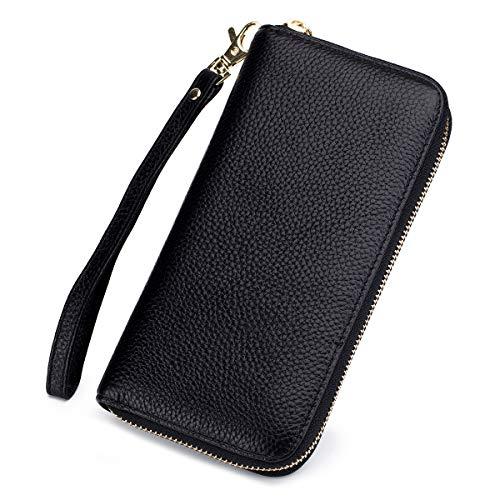 imeetu RFID Blocking Genuine Leather Clutch Bag Wallet Credit Card Holder Organizer case Large Travel Wristlet Long Purse with Zipper Pocket(Black) (Black Wallet Leather Clutch)