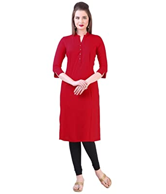 Khankan Women's Rayon Straight Kurta Kurtas at amazon