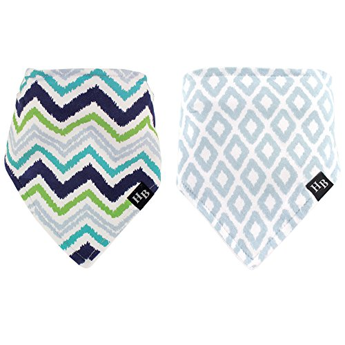 Hudson Baby Bandana Bib, Blue/Green Chevron, 2 Count