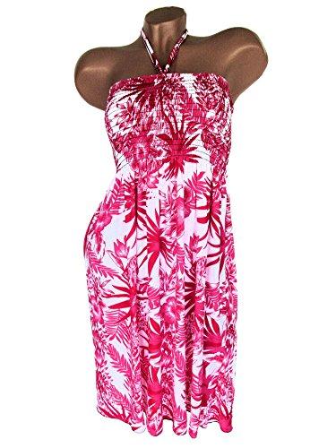 Sommerkleid, Neckholder, aus weichfließender Viskose, Muster, Weiß-Pink, RUT B-2512