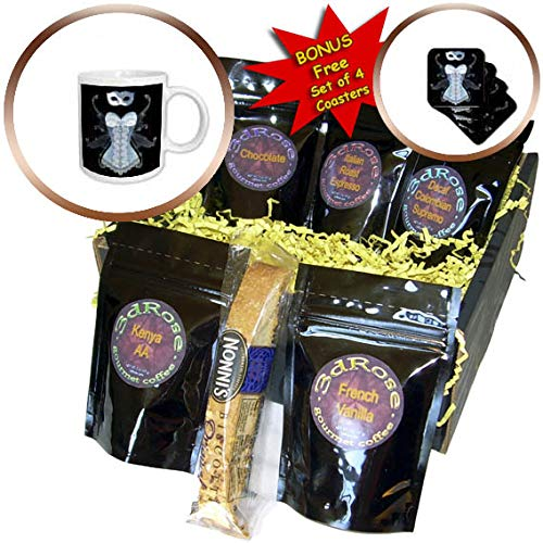 3dRose Anne Marie Baugh - Design - Blue Image Of Glitter Corset With Fairy Wings and Masquerade Mask - Coffee Gift Basket (cgb_316276_1)