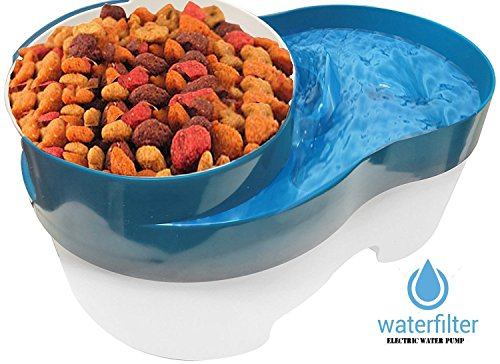 Good Pooch #1 Premium Pet Fountain Large Capacity with Water Filter and Food Bowl Feeder for Dogs and Cats - LED Nightlight & Removable Bowl - Whisper -