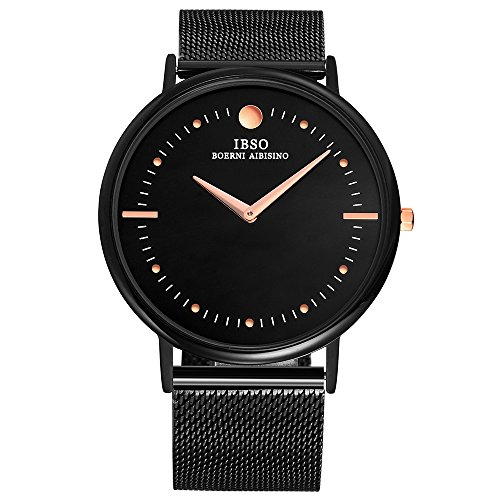 IBSO Men's Watches Super Slim Quartz Casual Wristwatch Ultra Thin Business Analog Wrist Watch (Black stainless (Black Dial Super Slim Watch)