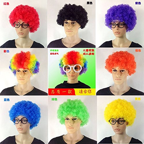 Strange performances explosion hoods bald men and women engaged in wigsp Halloween skit white semi-bald head clown ()