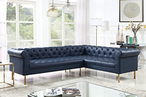 Iconic Home Giovanni Right Facing Sectional Sofa L Shape PU Leather Upholstered Button Tufted Roll Arm Design Solid Gold Tone Metal Legs, Modern Transitional, Navy