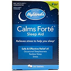 Hyland's Calms Forte' Sleep Aid Tablets, Natural Relief of Nervous Tension and Occasional Sleeplessness, 50 Quick Dissolving Tablets