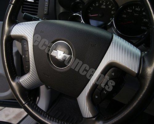 Silverado Tahoe Silver Carbon Fiber Steering Wheel Spoke Overlay Decal (Carbon Fiber Spokes)