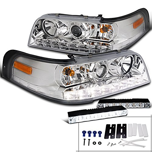 Ford Crown Victoria Chrome Projector Headlights+6-LED Fog Lamps