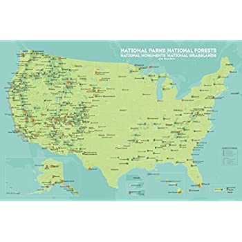us national parks monuments forests map 24x36 poster green