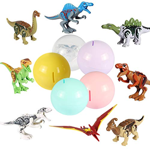 - Dinosaur Building Block with Colorful Ball,Plastic Dinos Action Figures for Easter Gift Basket Fillers Surprise Egg with Coin Bank,Dino Playset for Boys Girls Aged 4,5,6,7,8,9