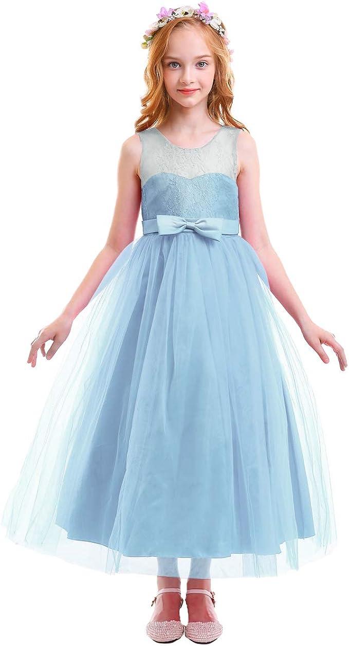 OBEEII Mädchen Prinzessin Kleid Festlich Elegante Ärmellos Blumenspitze  Tüll Kleid Lang für Hochzeit Brautjungfer Geburtstag Party Fasching