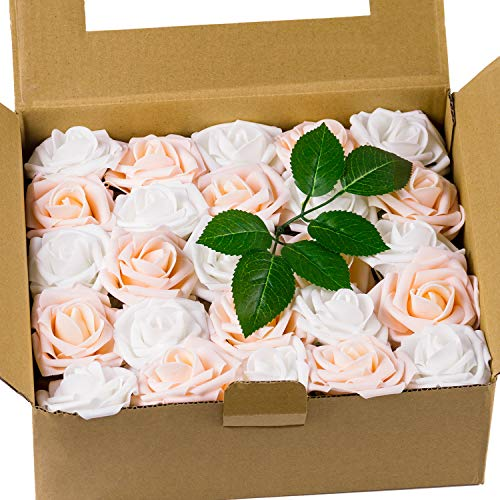 Loveinside 50pcs Artificial Flowers Roese - Real Looking Fake Roses,for DIY Bouquets,Wedding Home Party Decorations - White & Champagne -