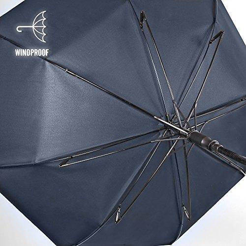 Paraguas de Hombre Largo Perletti Technology - Golf antiviento y Ultra Resistente - Tela Monocolor con Tratamiento Teflon - 120 cm de diámetro - Apertura ...