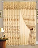 Cheap Set of 2 Melissa Embroidered Curtains Panels with Sheer Backing (90″ Long, Gold/Brown)