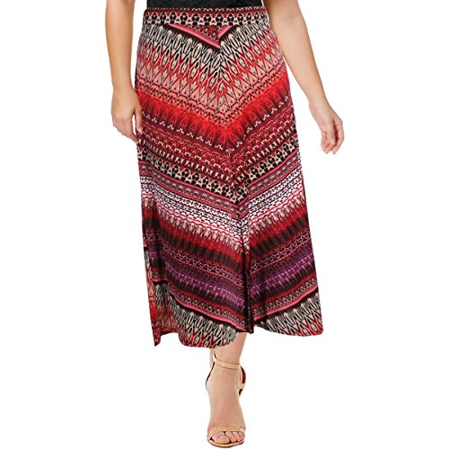 NY Collection Womens Petites Printed Matte Jersey Maxi Skirt Red PXL