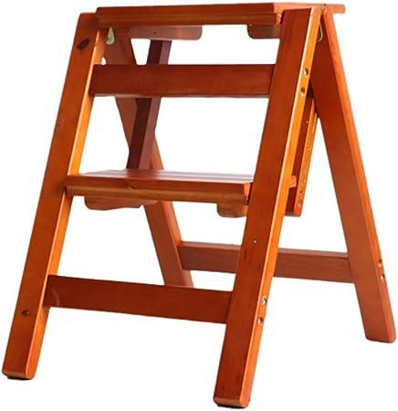 QQXX Escalera Plegable de 2 peldaños Escaleras de Tijera de Doble Uso Escaleras Plegables Escaleras de Madera de Pino Escalera Estante para Flores Banco de Zapatos, 38 46 50 cm (Color: C): Amazon.es: Hogar