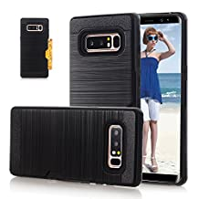 Asstar Galaxy Note 8 Case, [Card Slots Holder] Flexible Slim Fit Dual Layer Soft TPU Hard PC Shockproof Scratch-Resistant Full Body Protective Cover Case for Samsung Galaxy Note 8 (Black)