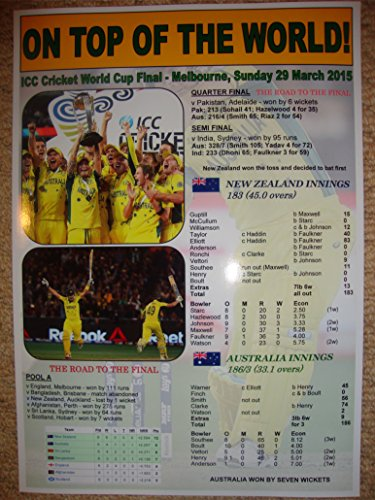 Australia 2015 ICC Cricket World Cup Winners - souvenir print (Cricket Cup 2015 World)