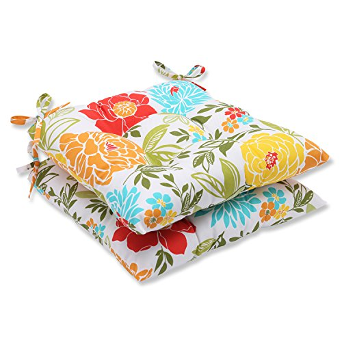 - Pillow Perfect Outdoor Spring Bling Wrought Iron Seat Cushion, Multicolored, Set of 2