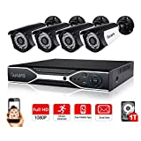 CANAVIS 4 Channel AHD 5 in 1 HD-TVI 1080P Lite Video Recorder DVR (4) 2MP Wired Bullet Camera with 100ft Night Vision and 1TB Hard Drive