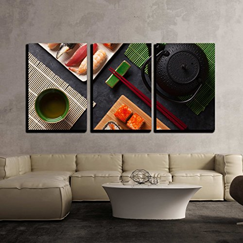 wall26 - 3 Piece Canvas Wall Art - Set of Sushi and Maki Roll and Green Tea on Stone Table. Top View - Modern Home Decor Stretched and Framed Ready to Hang - 24