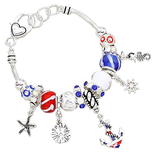Rosemarie Collections Women's Beach Patriotic USA Beaded Charm Bracelet