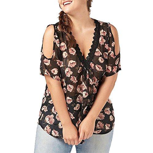Simayixx Fashion Women T Shirt, 2018 Summer Plus Size Floral Printed Strapless Lace Trim V-Neck Chiffon Tops Blouse (XL, Black) Torso Trim Bra