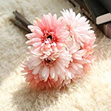 "ZJCilected 7.9"" Full Booming Silk Artificial Gerbera Daisy Floral Bouquet for Home Wedding Decor-7 Stems(Pink)"