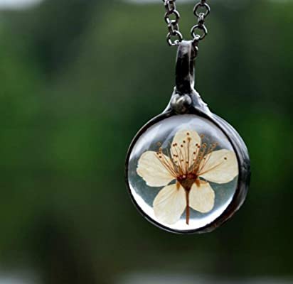 Pressed Flower, Real Wild Pear Blossom in Glass Charm, Terrarium Pendant Necklace Gift for Her 2575