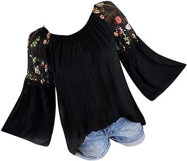 ❤️ Camisas Mujer Tallas Grandes, Modaworld Moda Blusa de Mujer Floral Bordado Encaje Flare Manga Camiseta Tops Blusas Elegante Señoras Tops Camiseta Sexy niña S- 5XL: Amazon.es: Ropa y accesorios