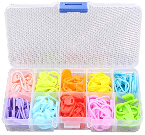Knitting Stitch Markers - LeBeila Split Locking Knit Stitch Counter Needle Clips Supplies, 120 Pieces Colorful Plastic Crochet Marker Yarn Count Rings Mini Safety Pins Accessories (120Pcs, 10Colors)