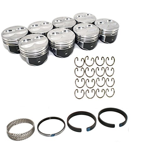 Speed Pro H345DCP 1967-1990 350 Small Block Chevy SBC Flat Top Coated Pistons & Rings & Locks 5.7
