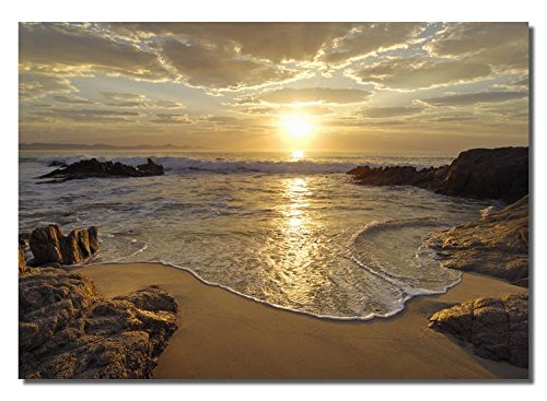 Picture Sensations Framed canvas Art Print, sunrise Sea ocean Wave Sunset Beach - 40