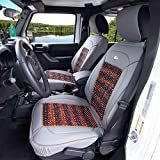 FH Group PU203102 Premium Leather Seat Leather Cushion Pad Seat Covers Gray Color w. Cooling Rosewood Beads-Fit Most Car, Truck, SUV, or Van