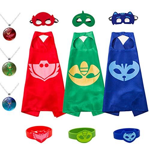 Kids Masks Capes Superhero Costume Party Supplies Gekko Owlette Catboy Capes for Girls Boys -