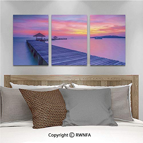 3Pc Creative Wall Stickers Dreamy Seascape Curve Jetty Romantic Resort Morning Time Panoramic View Bedroom Kids Room Nursery Dinning Wall Decals Removable Art Murals,19.7