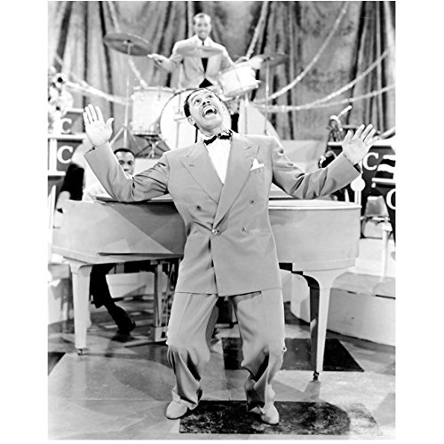 Cab Calloway as Himself in Hi De Ho Standing Leaning Back Arms in the Air Black and White 8 x 10 Inch - Cab Celebrity