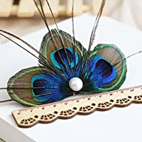 RUNHENG Handmade Feather Peacock Hair clip, Natural Feather Fascinator Barrette with White Pearl