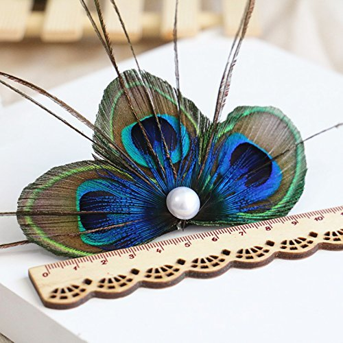 - RUNHENG Handmade Feather Peacock Hair clip, Natural Feather Fascinator Barrette with White Pearl