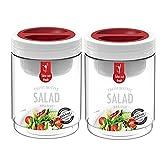 Komax Salad Bottle Jar Set of 2 with Salad Sauce Dressing Case Leak Proof BPA Free 750ml