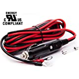 Herzwolf 12V/24V 15A Male Plug Cigarette Lighter Adapter Power Plug — 3M/10FT 16 AWG Cable Wire w/Spare 20A Fuse | for Car Power Inverter Air Pump Electric Cup