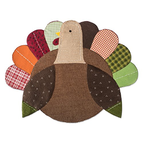 DII Polyester Placemat, Set of 4, Embroidered Turkey - Perfect for Fall, Thanksgiving, Friendsgiving and Dinner Parties (Holloween Party Food)