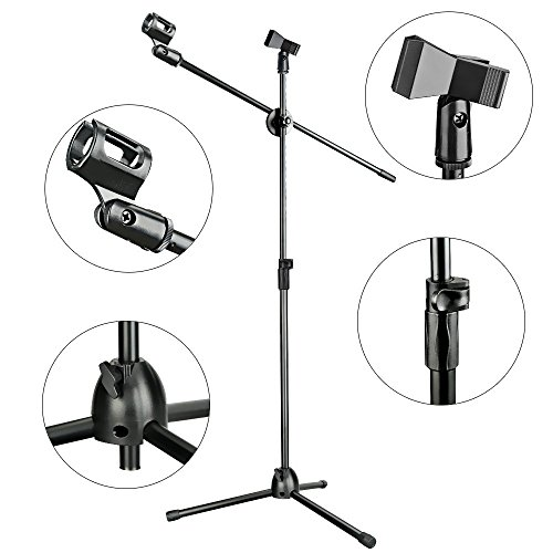 Aokeo Professional Studio Broadcasting / Recording AK-70 Condenser Microphone & AK-107 Folding Type Height Adjustable Microphone Tripod Boom Floor Stand Kit - Image 5